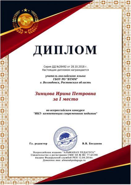 Диплом Зинцова Ирина Петровна