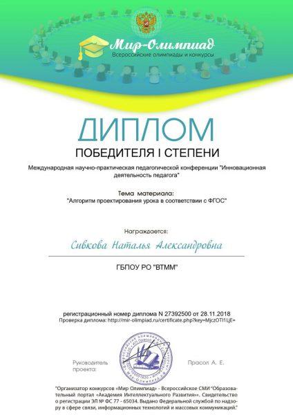Диплом Сивкова Наталья Александровна
