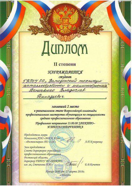 Диплом Денисенко Владислав Геннадьевич