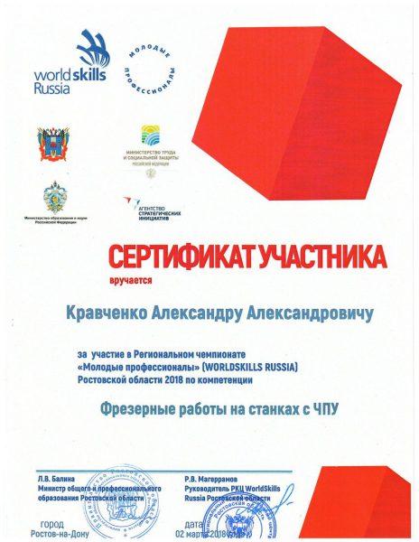 Сертификат Кравченко Александр Александрович
