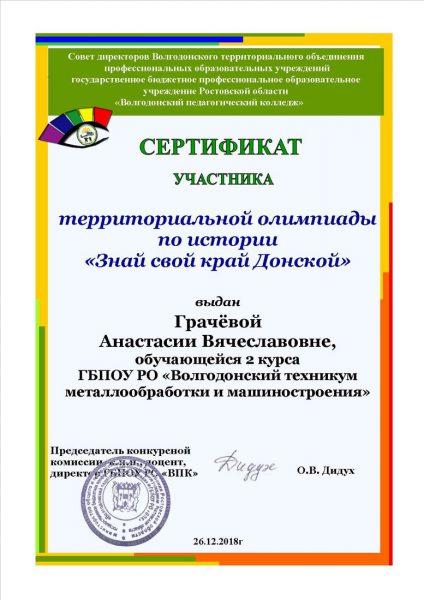 Сертификат Грачева Анастасия Вячеславовна
