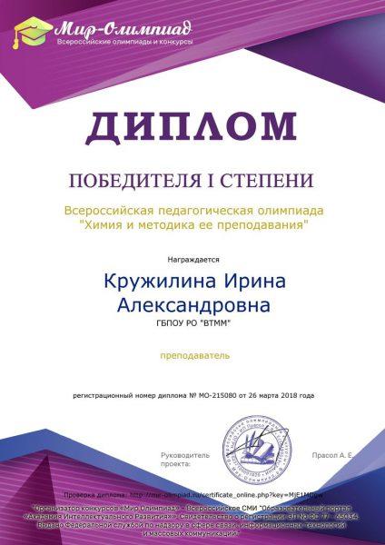 Диплом Кружилина Ирина Александровна