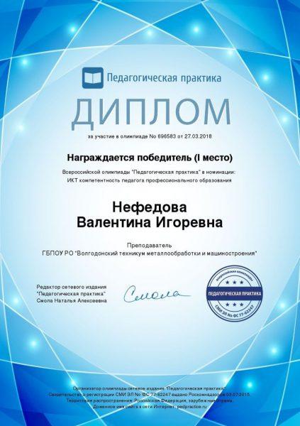 Диплом Нефедова Валентина Игоревна