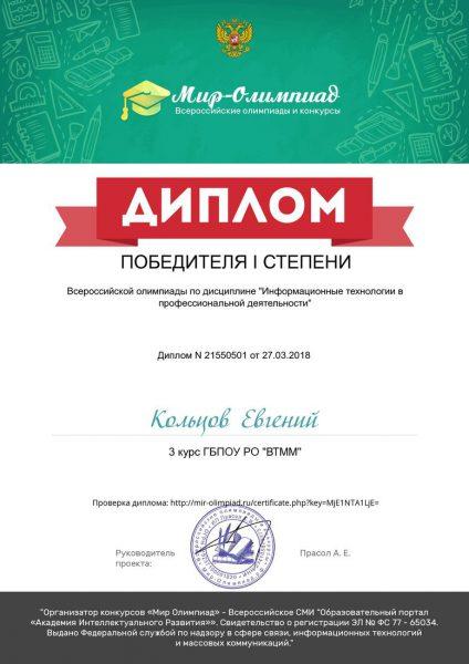 Диплом Кольцов Евгений