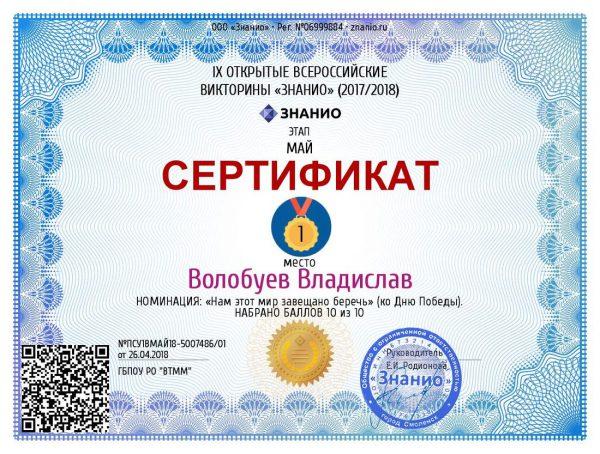 Сертификат Волобуев Владислав